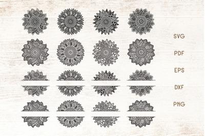Sunflower Mandala SVG - Sunflower Split Monogram Zentangle