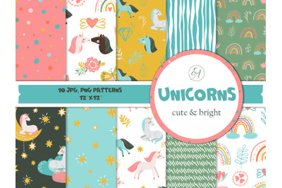 Unicorns - baby seamless patterns