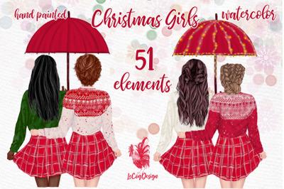 Christmas Girls Clipart, Christmas mug design, Best Friends
