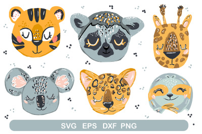 Baby animal faces svg
