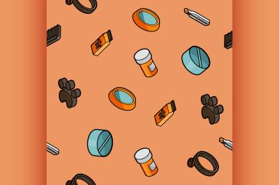Vet pharmacy color outline isometric pattern
