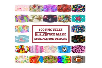 Kids Face Mask Designs Bundle, Face Cover Sublimation PNG Clip Art