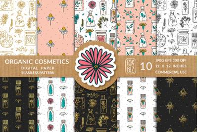 Organic cosmetics prints. Seamless patterns, vector.