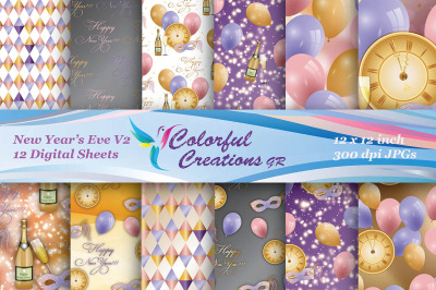 New Years Eve Digital Papers, New Years Eve Scrapbook Papers, New Year