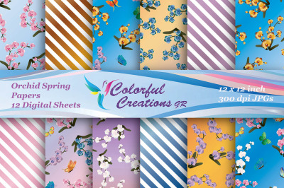 Orchid Spring Digital Papers, Spring Digital Papers, Orchid, Floral Pa