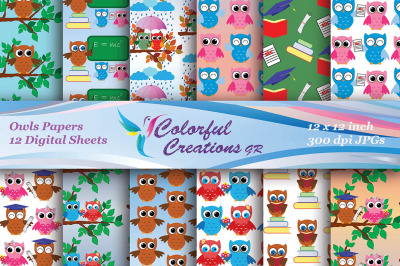 Owl Set Digital Paper, School Owls, Scrapbook, Decoupage, Party Printa