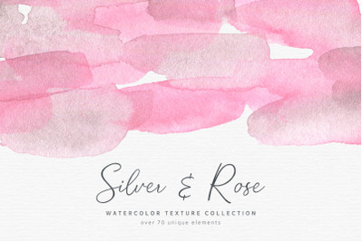 Silver & Rose Watercolor Textures