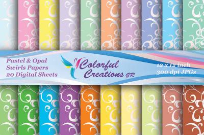Pastel And Opal Swirls Set Digital Papers, Swirls Pattern, Scrapbook P