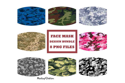 Camo Face Mask Designs Bundle, Camouflage Face Cover Sublimation PNG
