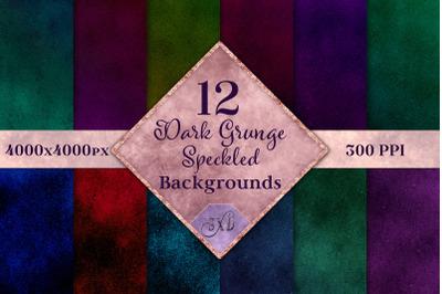 Dark Grunge Speckled Backgrounds - 12 Image Textures Set