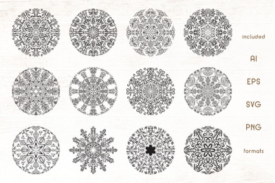 12 Floral Mandala Vectors Pack