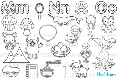 Alphabet Digital Stamps, ABC Clip Art, A to Z, MNO Letters