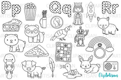 Alphabet Digital Stamps, ABC Clipart, A to Z, PQR Letters