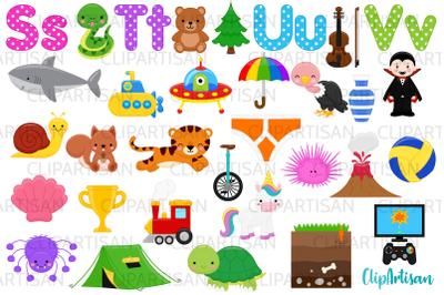 Alphabet Clip Art, ABC Illustrations, A to Z, STUV Letters
