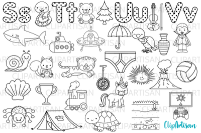 Alphabet Digital Stamps, ABC Clipart, A to Z, STUV Letters