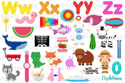 Alphabet Clip Art, ABC Illustrations, A to Z, WXYZ Letters