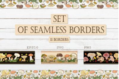 "Seamless horizontal borders ""Forest mushrooms"""