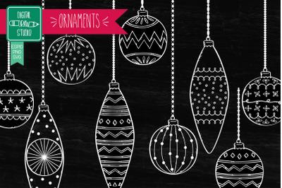 Christmas Ornaments White | Hand Drawn Tree Balls Decorations
