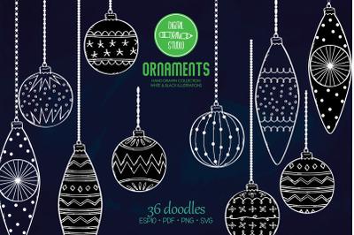 Hand Drawn White Ornaments   Christmas Tree Balls   Decorative Holiday