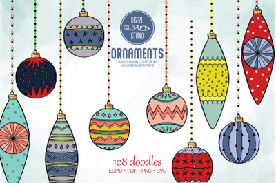 Hand Drawn Ornaments Color   Christmas Tree Balls   Decorative Holiday