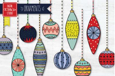 Christmas Ornaments Color | Hand Drawn Tree Balls Decorations