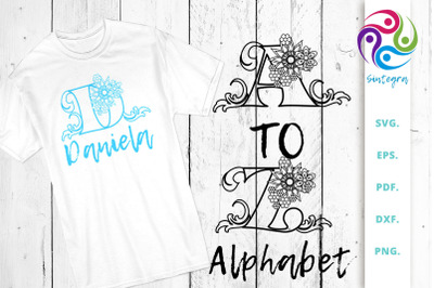Floral Outlined Alphabet, Letter A to Z, SVG Cut Files