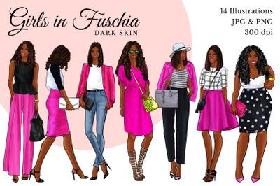 Watercolor Fashion Clipart - Girls in Fuchsia - Dark skin