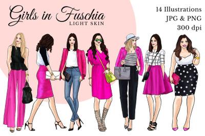 Watercolor Fashion Clipart - Girls in Fuchsia - Light skin