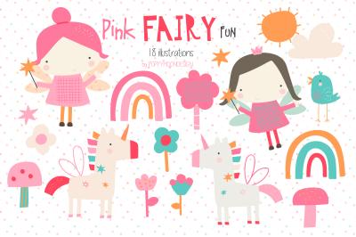 Pink fairy fun clipart