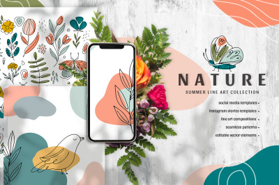 Nature - summer Line Art collection