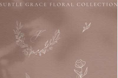 White Subtle Grace. Line drawing delicate wreaths floral illustrations