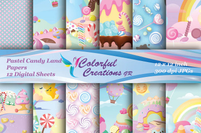 Pastel Candy land Digital Papers, Sweets Scrapbook Papers, Candy and l