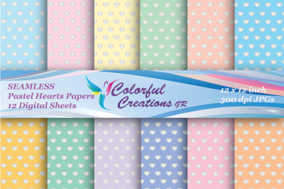 Pastel Hearts Seamless Set Digital Papers, Hearts Paper, Valentines Pa