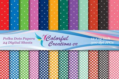 Polka Dots Set Digital Papers, Scrapbook Paper, Polka Dot Pattern, Dec