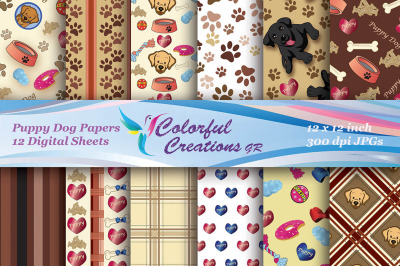 Puppy Dog Set Digital Papers, Puppies, Hearts, Stripes, Plaid, Scrapbo
