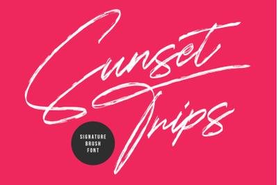 Sunset Trips Signature Brush Handmade Beauty Font