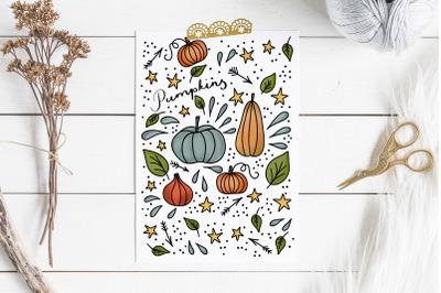 Fall greeting card, pumpkin farm doodles card.