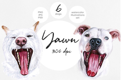Watercolor set YAWN dog illustrations. 6 dogs. Sleep