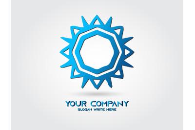 Logo Abstract Sun Gradient Blue