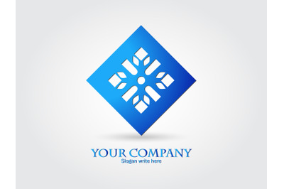 Logo Abstract Snowflake Gradient Blue