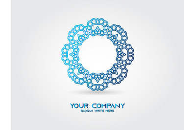 Logo Abstract Round Gradient Blue
