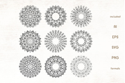 Hand Drawn Floral Mandala Vector Pack