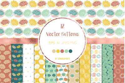 12 Colorful Flowers and doodles Vector Patterns