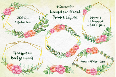 Watercolor Geometric Floral Frames Clipart