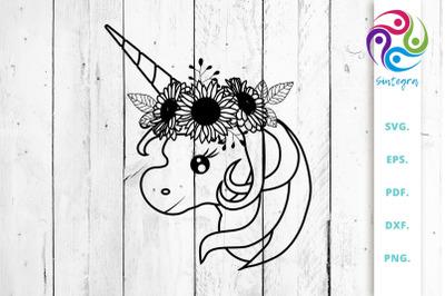 Unicorn With Sun Flower Svg Cut File