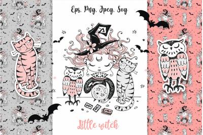 Little witch. Halloween. Svg