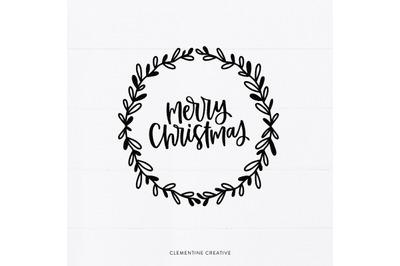 Merry Christmas SVG   Christmas Clip Art   Wreath SVG