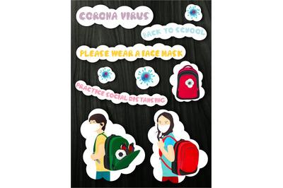 Back to school. Coronavirus stickers pack.