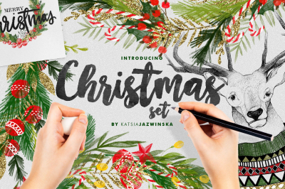 Christmas Illustration Set + FREEBIE