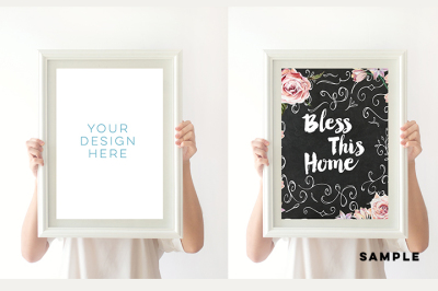 Simple wood frame mock up, Empty White Wooden Frame, White Wood Display Empty Frame, Simple Blank Empty Frames, Blank Frame Mockups,